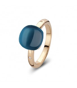 Anillo Mini Sweety de oro rosa con topacio London Blue Lake