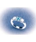 Anell Diamants i Aiguamarina