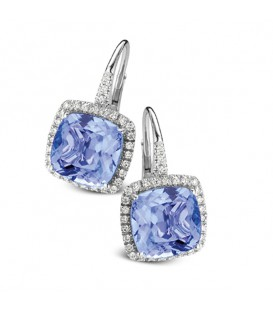 "Pendientes ""Cocktail"" Amatista Topacio Azul y diamantes"